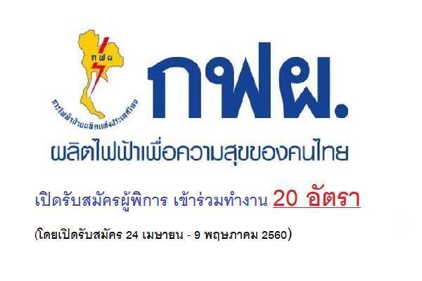 การไฟฟ้าฝ่ายผลิตแห่งประเทศไทย (กฟผ.)  เปิดรับสมัครผู้พิการ เข้าร่วมทำงาน จำนวน 20 อัตรา