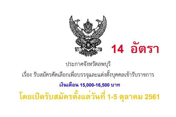 จังหวัดลพบุรี รับสมัครคัดเลือกเพื่อบรรจุและแต่งตั้งบุคคลเข้ารับราชการ 14  อัตรา