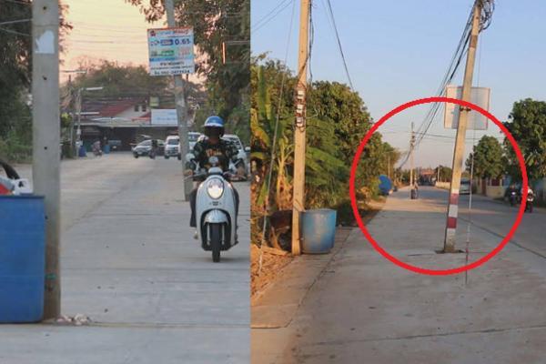 หน่วยงานไหนดูแล ? ชาวบ้านขอนแก่น โวยทำถนนไม่ย้ายเสาไฟฟ้า ปล่อยตั้งโด่หวั่นเกิดอุบัติเหตุ